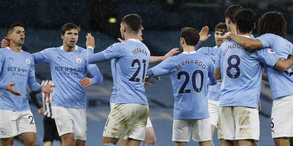 Skuat Manchester City merayakan gol Ferran Torres ke gawang Newcastle