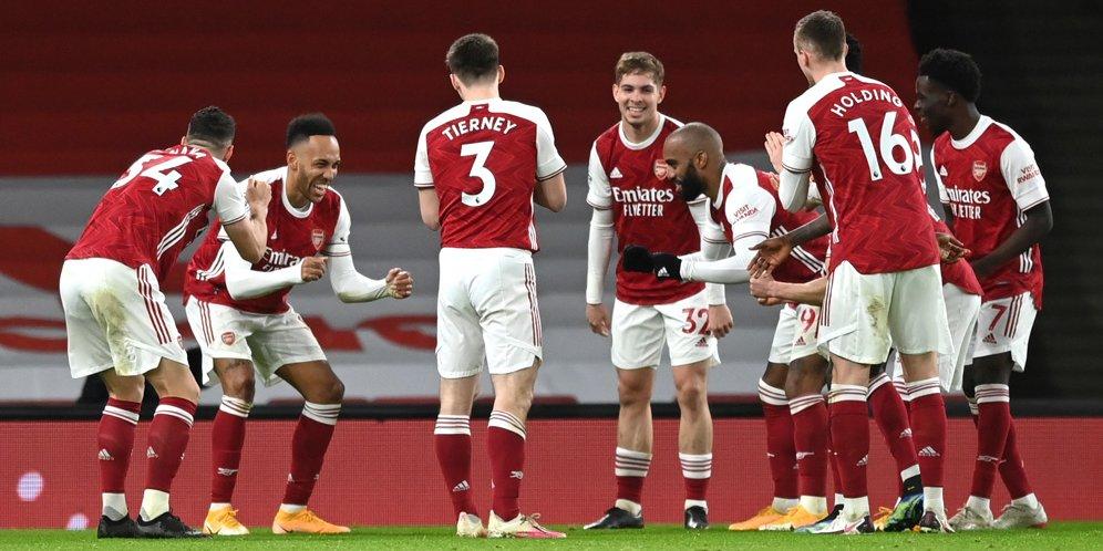 Skuad Arsenal merayakan gol Pierre-Emerick Aubameyang ke gawang Newcastle, Premier League 2020/21. © AP Photo