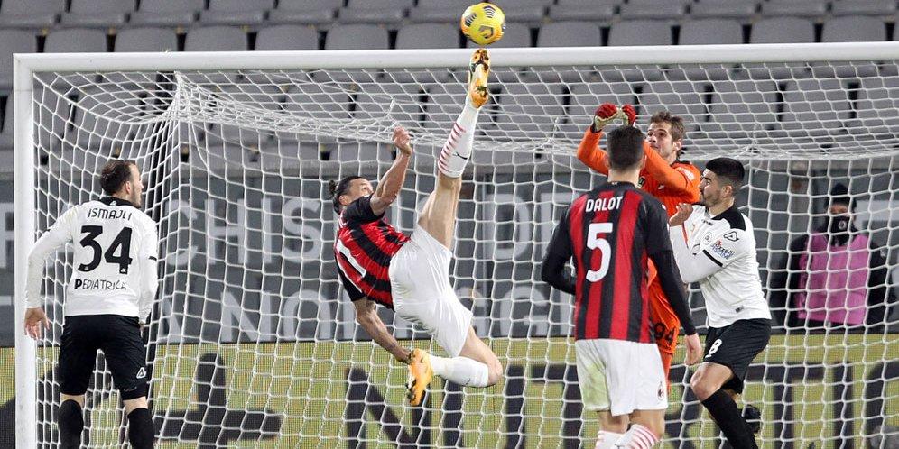 Duel Spezia vs AC Milan di Stadion Alberto Picco, Minggu (14/02/2021) dini hari WIB. © LaPresse