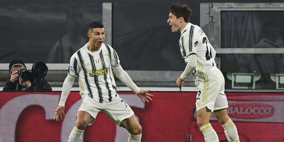Cristiano Ronaldo usai mencetak gol ke gawang AS Roma pada pekan ke-21 Serie A, Minggu (7/2/2021) dini hari WIB.