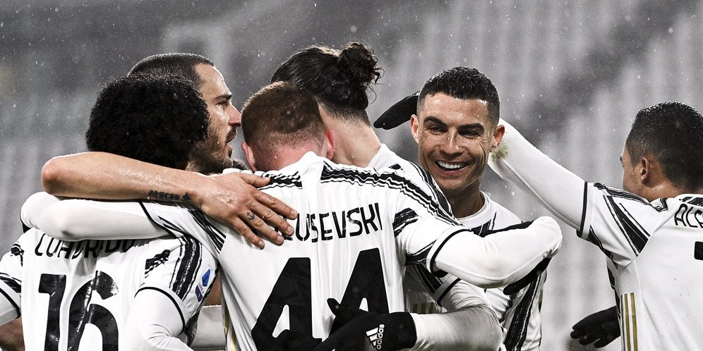 Juventus merayakan kemenangan atas AS Roma pada pekan ke-21 Serie A musim 2020/2021