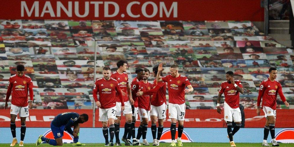 Skuad Manchester United merayakan gol ke gawang Southampton, Rabu (3/2/2021) © Pool Reuters